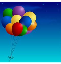 Bunch of colorful balloons on a blue sky vector