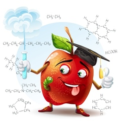School scholar apple with harmful substance in a vector