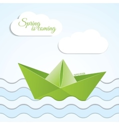 Paper origami boat icon on spring vector
