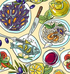 Simpless hand-draw pattern mediterranean food vector