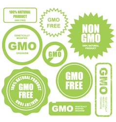 Gmo free stamps stickers and labels vector