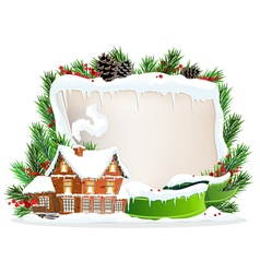 Brick house and christmas wreath vector