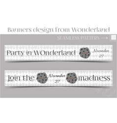 Banners party in wonderland - cookie vector