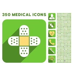 Plaster cross icon and medical longshadow icon set vector