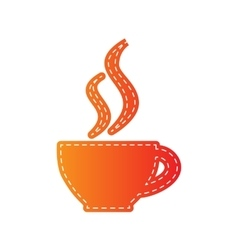 Cup of coffee sign orange applique isolated vector