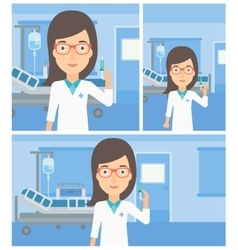 Doctor with syringe in hospital ward vector image
