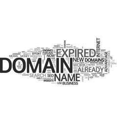 Benefit of expired domains text word cloud concept vector