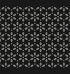 black and white seamless geometric floral pattern vector image