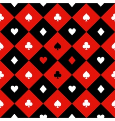 Card suits red black diamond background vector