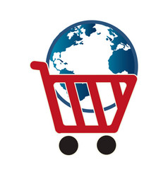 Cart shopping with planet commercial icon vector