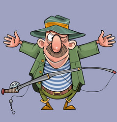 cartoon male fisherman with a fishing rod shows vector image