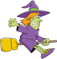 Cartoon witch riding a broom vector