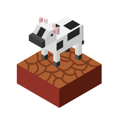 Cow with ground isometric isolated icon vector