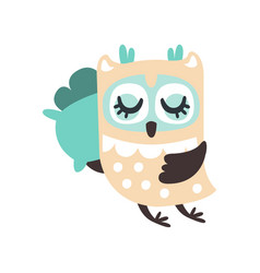 cute cartoon owl bird sleeping colorful character vector image