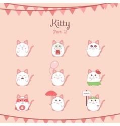 Cute funny cats set various emotions vector