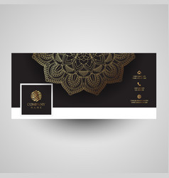 decorative social media cover with mandala design vector image vector image