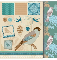 Design Set - Vintage Birds and Feathers vector image vector image