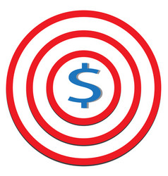 Dollar target icon on white background dollar vector