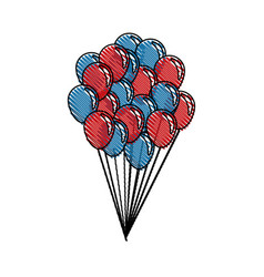 Drawing balloons flying decoration national party vector