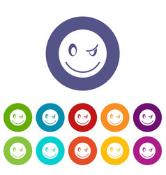 eyewink emoticon set icons vector image vector image