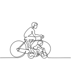 father with son drive bicycles vector image vector image
