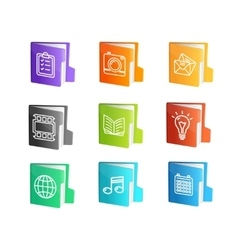 File Folder Colorful Icon Set vector image vector image