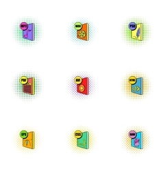Files icons set pop-art style vector