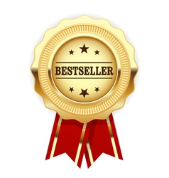 Golden medal bestseller with red ribbon vector
