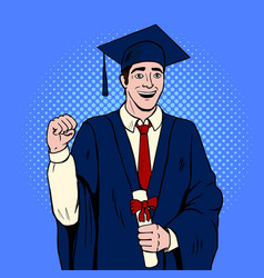 Graduate guy pop art vector