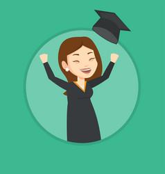 graduate throwing up graduation hat vector image