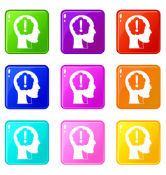 Head with exclamation mark inside icons 9 set vector