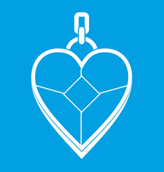 heart shaped pendant icon white vector image