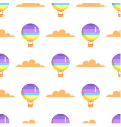 hot airballoon with basket in sky seamless pattern vector image