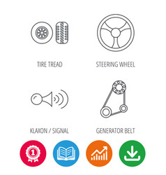 Klaxon signal tire and steering wheel icons vector