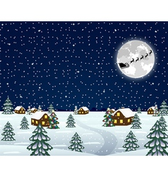 Landscape in the Christmas night vector image vector image