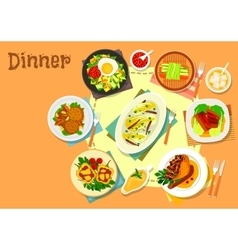 Main lunch dishes icon for food theme design vector