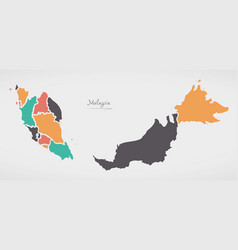 Malaysia map with states and modern round shapes vector