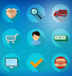 Online shopping process flat icon set vector image