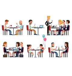 People eating and talking in restaurant or coffee vector image
