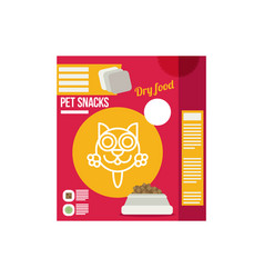 Pet snacks in pouches icon of cat dry food icon vector