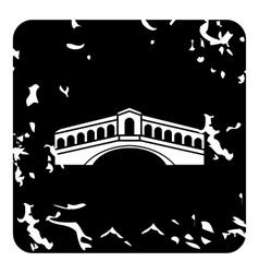 Rialto bridge venice icon grunge style vector