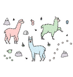 Set of cute isolated outline cartoon lama vector