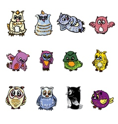 Set of owl vector image vector image