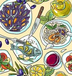 Simpless hand-draw pattern mediterranean food vector