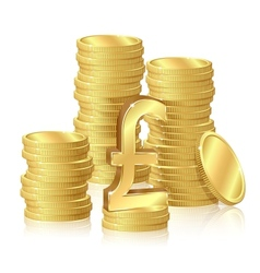 Stacks of gold coins vector image vector image