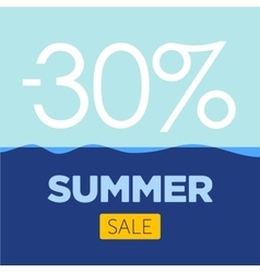 Summer sale poster with sea background vector
