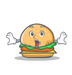 Surprised burger character fast food vector