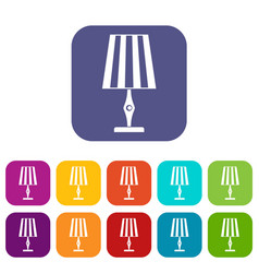 Table lamp icons set flat vector