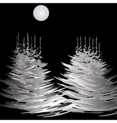 The stylized image of spruce trees in winter vector image vector image