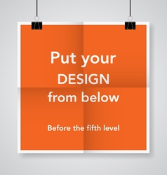 Twice a folded orange poster vector